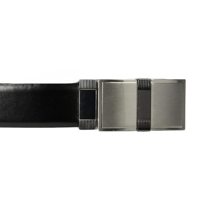 Men's Leather Belt with Square Buckle bata, black , 954-6140 - 26