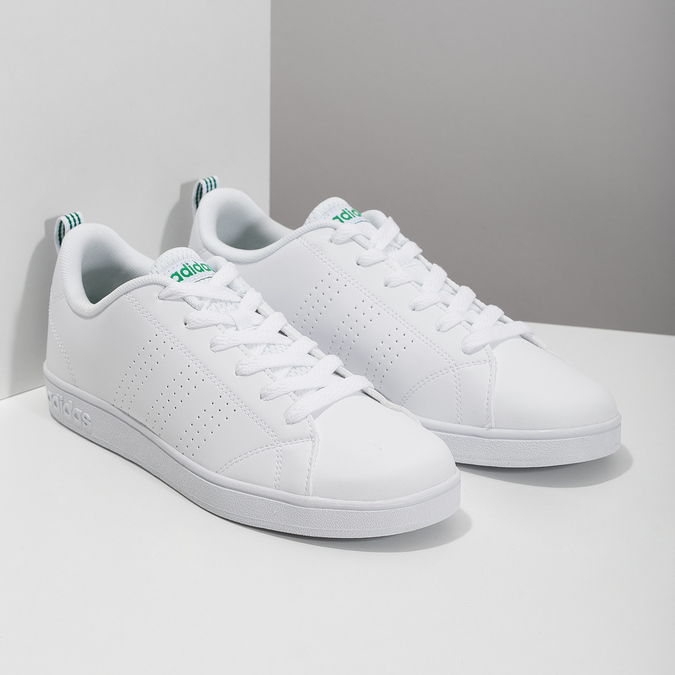 White sneakers with green details adidas, white , 501-1300 - 26