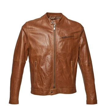 Men's leather jacket with trendy quilting bata, brown , 974-3142 - 13