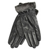Ladies' leather gloves with fur bata, black , 904-6112 - 13