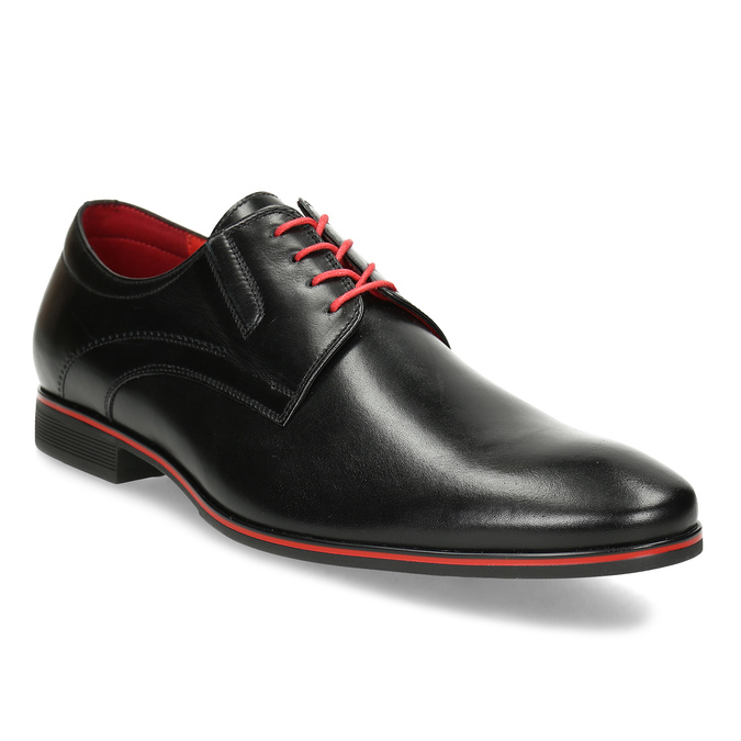 Leather shoes with red details conhpol, black , 824-6873 - 13