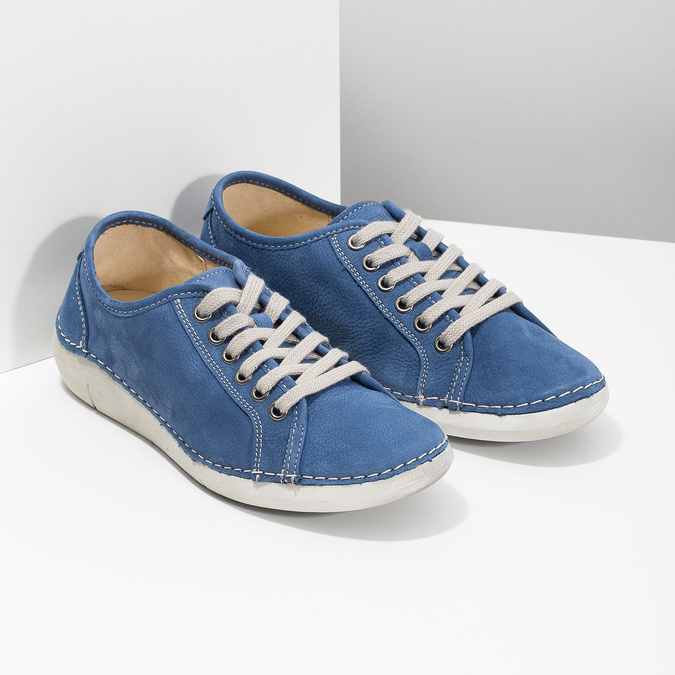 Casual leather low shoes weinbrenner, blue , 546-9603 - 26