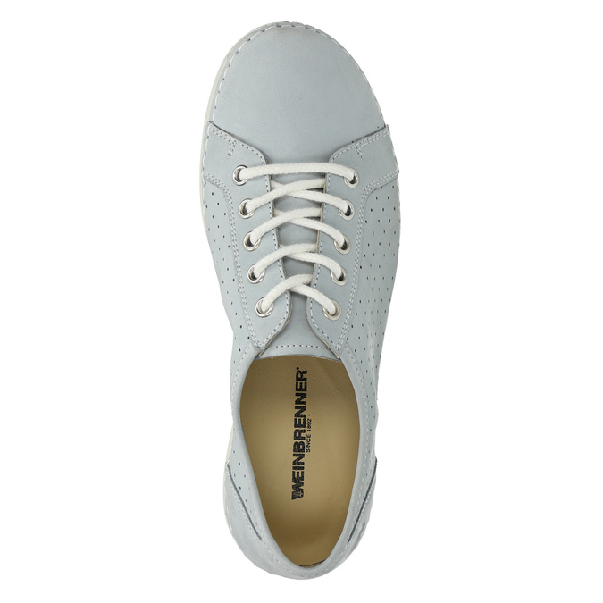 Leather low shoes with perforations weinbrenner, blue , 546-9602 - 19