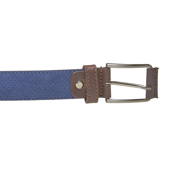 Men's leather belt with perforations bata, blue , 953-9325 - 26