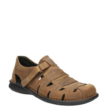 Men's brown leather sandals bata, brown , 864-4600 - 13