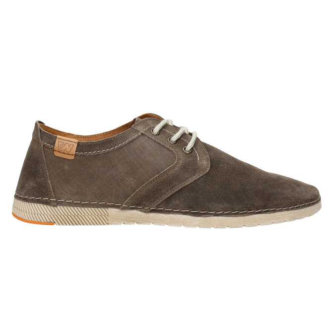 Casual shoes of brushed leather weinbrenner, brown , 843-4629 - 15