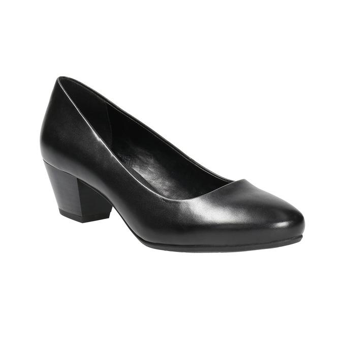 Ladies' leather pumps pillow-padding, black , 624-6641 - 13