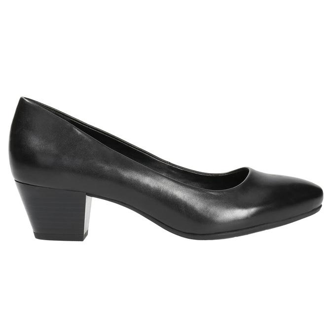Ladies' leather pumps pillow-padding, black , 624-6641 - 15