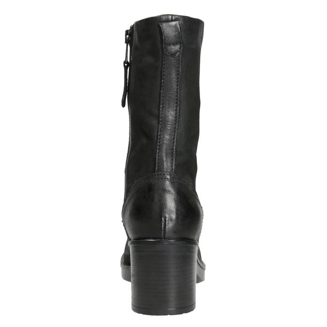 Black Leather Ankle Boots bata, black , 696-6646 - 16