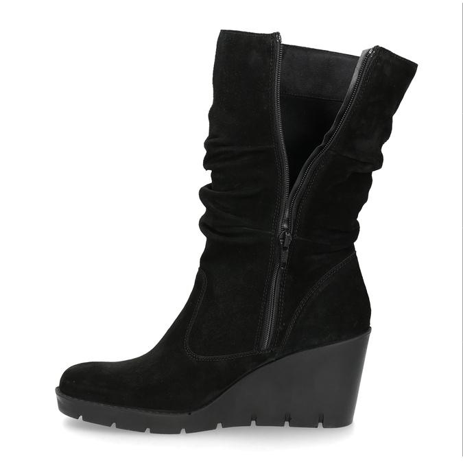 Ladies' Black Wedge High Boots bata, black , 796-6646 - 17