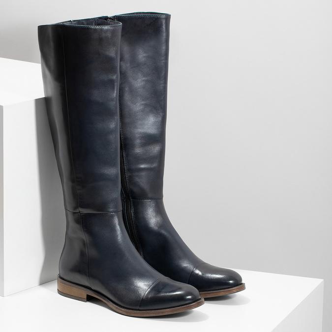 Ladies' Leather High Boots bata, blue , 594-9637 - 26