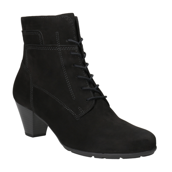 Leather Lace-up Ankle Boots gabor, black , 726-6120 - 13