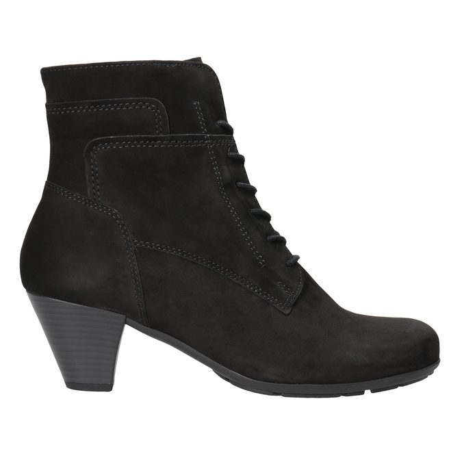 Leather Lace-up Ankle Boots gabor, black , 726-6120 - 26