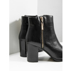 Leather high ankle boots bata, black , 694-6640 - 14