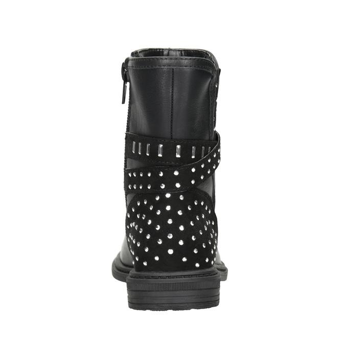 Girls' High Boots with Rhinestones mini-b, black , 291-6395 - 16