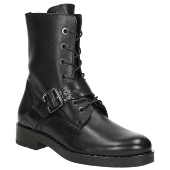 Ladies' leather high boots with buckle bata, black , 596-6681 - 13