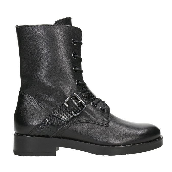 Ladies' leather high boots with buckle bata, black , 596-6681 - 26