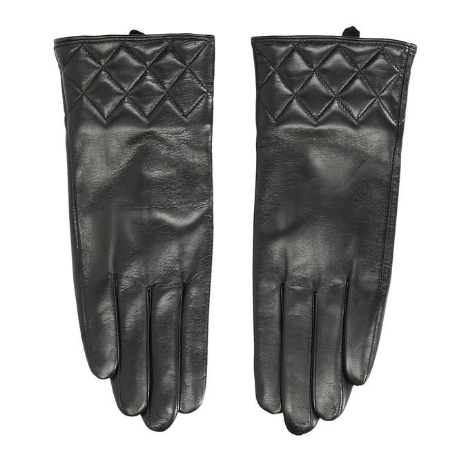 Ladies' black leather gloves bata, black , 904-6131 - 26