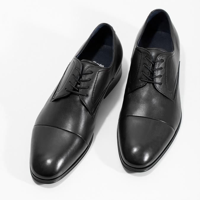 Men's leather Derby shoes bata, black , 824-6406 - 16