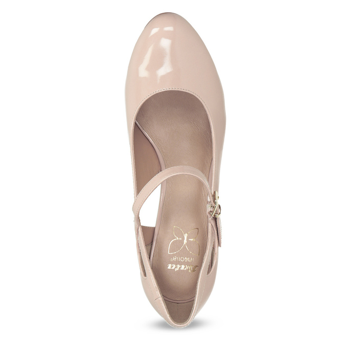 Pinkish cream-colored pumps with cut-outs insolia, beige , 721-8614 - 17