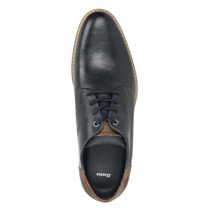 Men's leather Derby shoes bata, blue , 826-9924 - 15