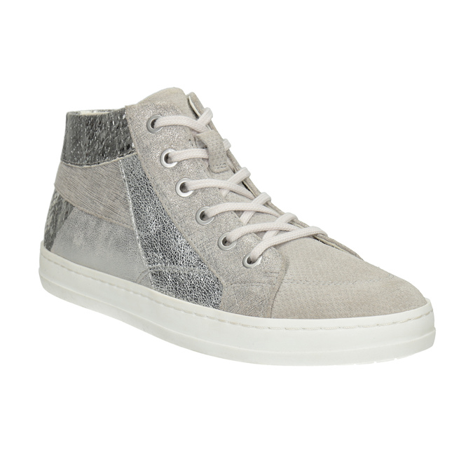 Leather high-top sneakers bata, gray , 546-2608 - 13
