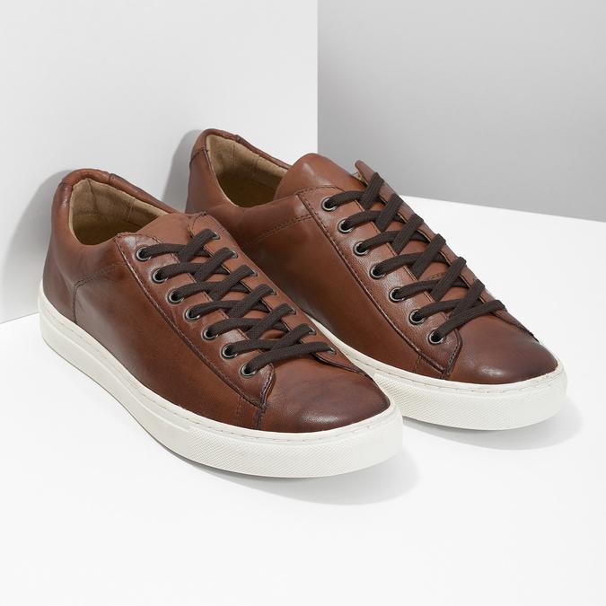 Men's Leather Sneakers bata, brown , 846-4648 - 26