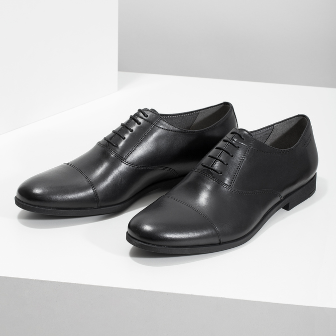 Black leather Oxford shoes vagabond, black , 824-6048 - 16