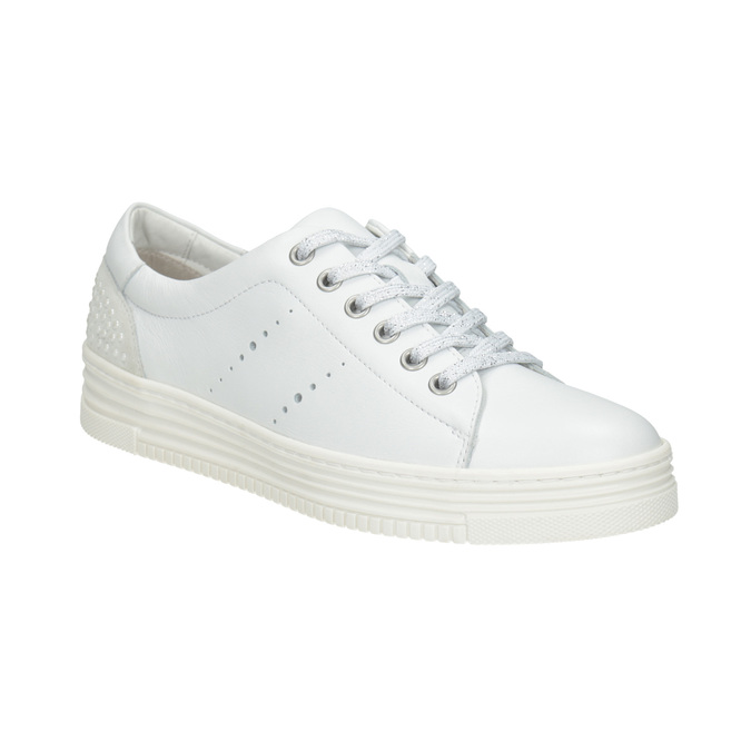 Ladies' leather casual sneakers bata, white , 544-1606 - 13