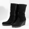 Ladies' Black Wedge High Boots bata, black , 796-6646 - 16